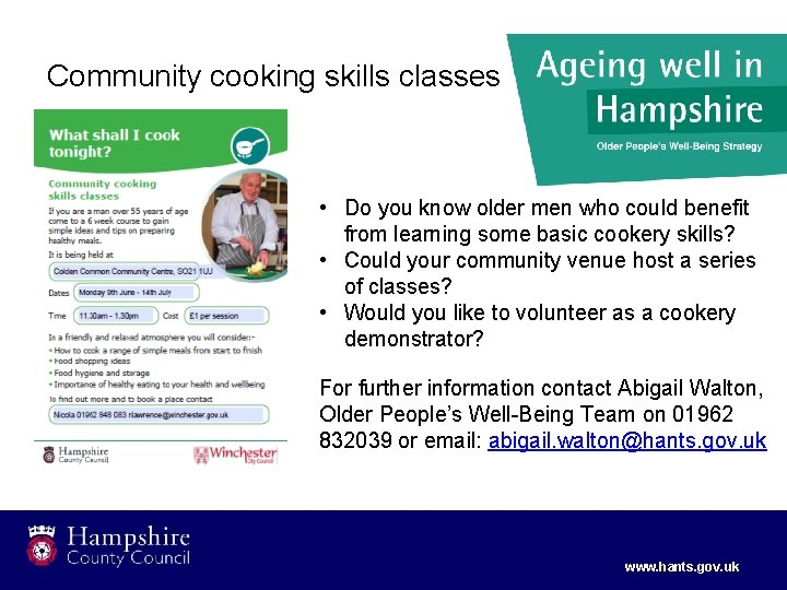 Community cooking skills classes • Do you know older men who could benefit from