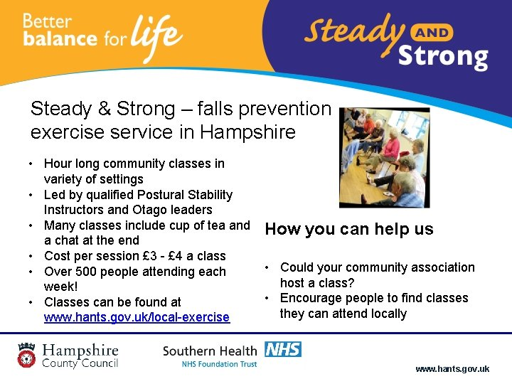 Steady & Strong – falls prevention exercise service in Hampshire • Hour long community