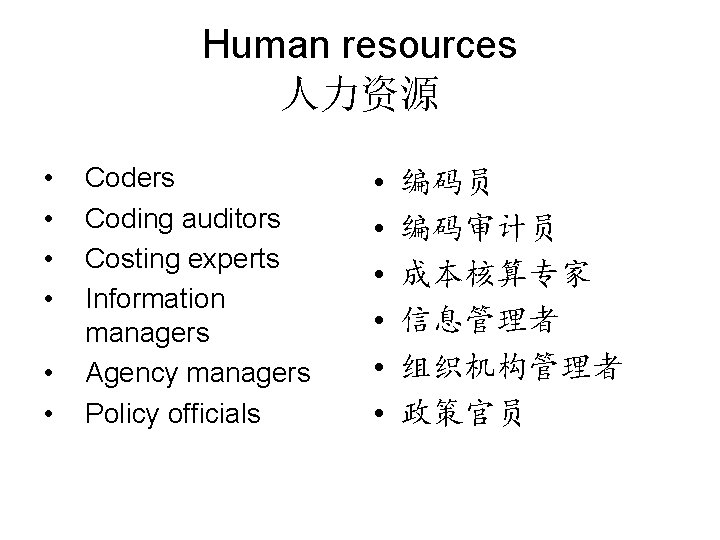 Human resources 人力资源 • • • Coders Coding auditors Costing experts Information managers Agency