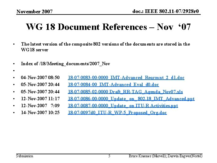 doc. : IEEE 802. 11 -07/2928 r 0 November 2007 WG 18 Document References
