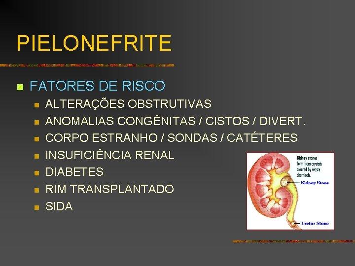 PIELONEFRITE n FATORES DE RISCO n n n n ALTERAÇÕES OBSTRUTIVAS ANOMALIAS CONGÊNITAS /