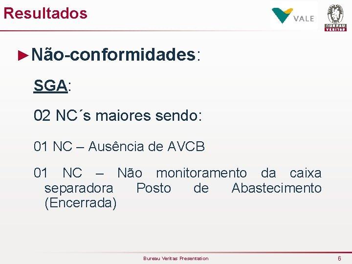 Resultados ►Não-conformidades: SGA: 02 NC´s maiores sendo: 01 NC – Ausência de AVCB 01