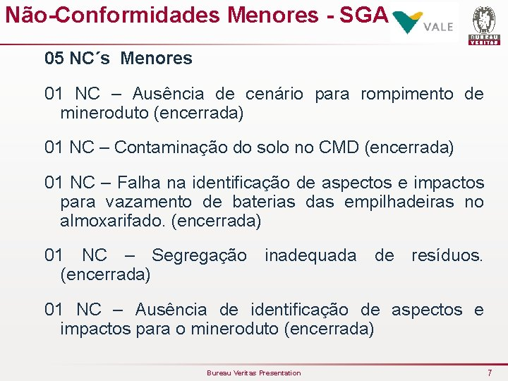 Não-Conformidades Menores - SGA 05 NC´s Menores 01 NC – Ausência de cenário para
