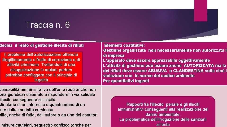Traccia n. 6 decies il reato di gestione illecita di rifiuti Il problema dell'autorizzazione