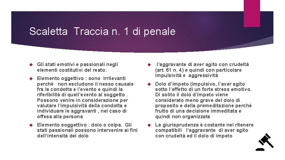 Scaletta Traccia n. 1 di penale Gli stati emotivi e passionali negli elementi costitutivi
