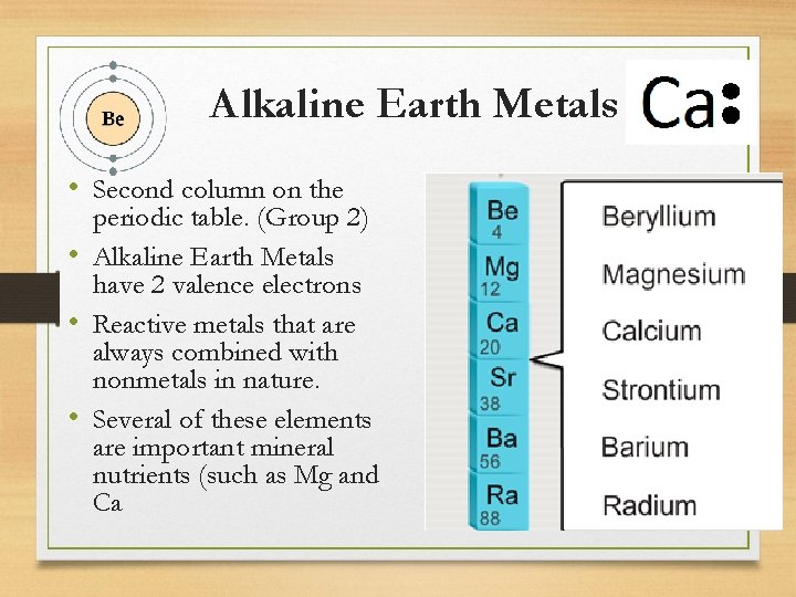 Alkaline Earth Metals • Second column on the periodic table. (Group 2) • Alkaline