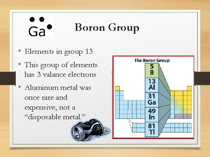 Boron Group • Elements in group 13 • This group of elements has 3