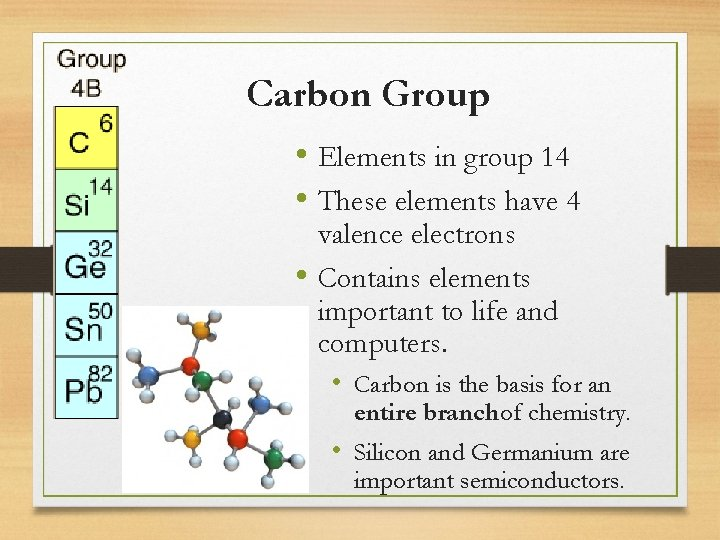 Carbon Group • Elements in group 14 • These elements have 4 valence electrons