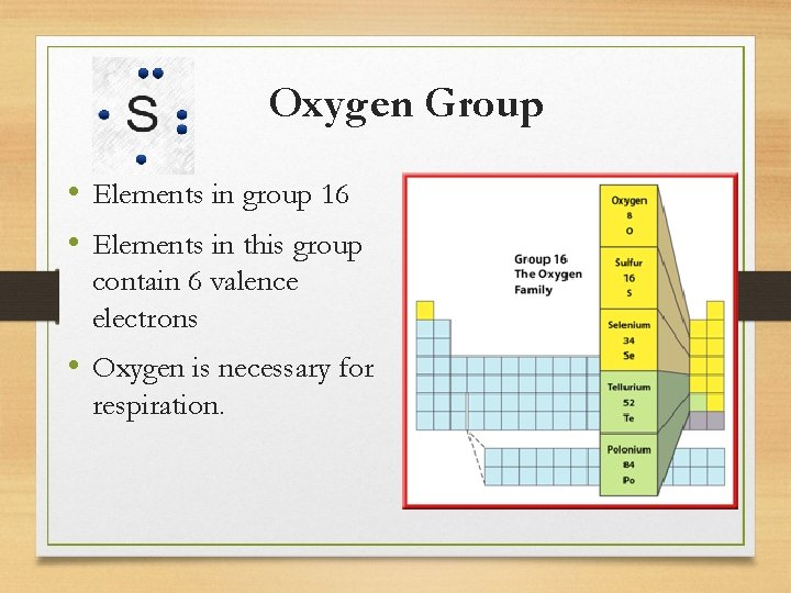 Oxygen Group • Elements in group 16 • Elements in this group contain 6