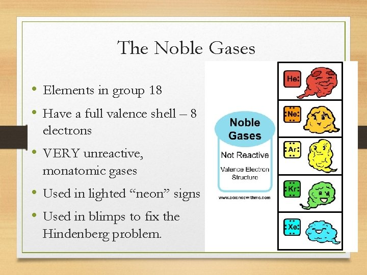 The Noble Gases • Elements in group 18 • Have a full valence shell