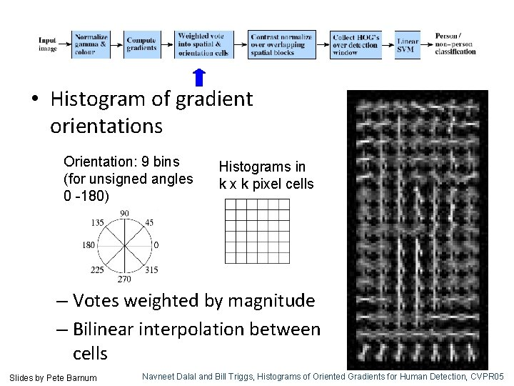 • Histogram of gradient orientations Orientation: 9 bins (for unsigned angles 0 -180)