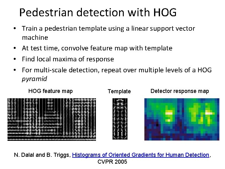 Pedestrian detection with HOG • Train a pedestrian template using a linear support vector