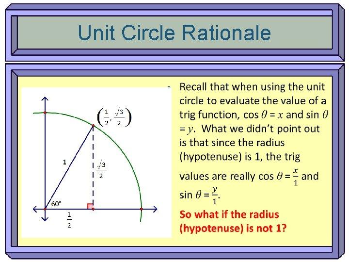 Unit Circle Rationale •