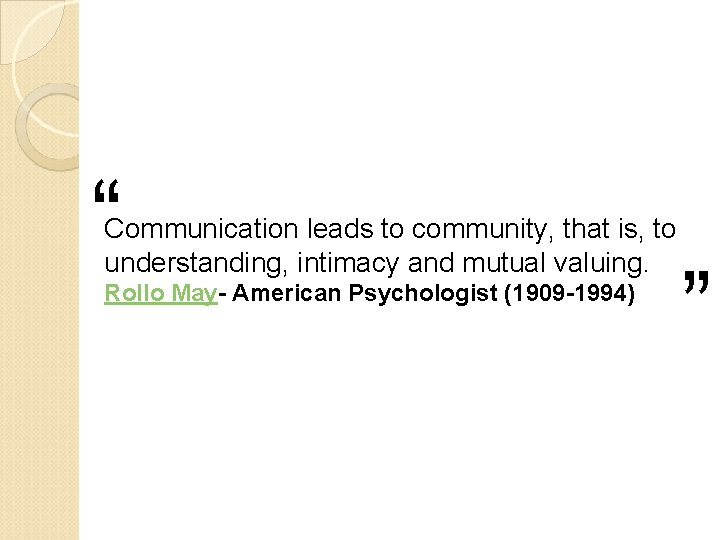""""""" """" Communication leads to community, that is, to understanding, intimacy and mutual valuing."""