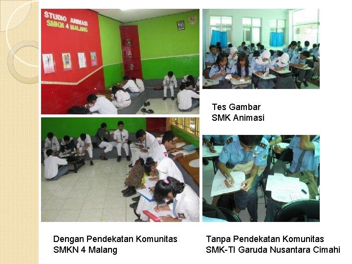 Tes Gambar SMK Animasi Dengan Pendekatan Komunitas SMKN 4 Malang Tanpa Pendekatan Komunitas SMK-TI