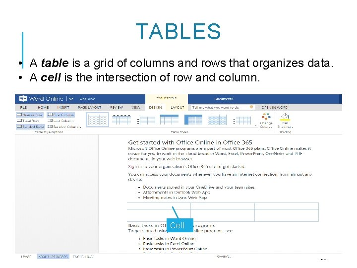 TABLES • A table is a grid of columns and rows that organizes data.