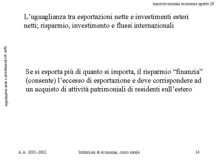 macroeconomia economie aperte 29 esportazioni nette e investimenti est. netti L'uguaglianza tra esportazioni nette