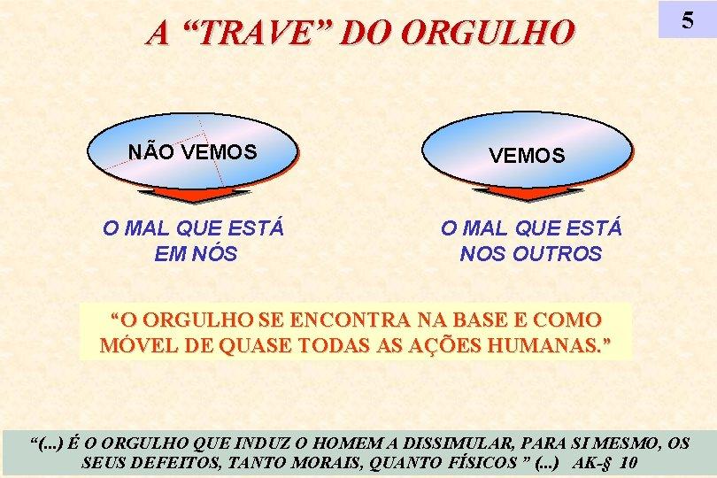 """A """"TRAVE"""" DO ORGULHO NÃO VEMOS O MAL QUE ESTÁ EM NÓS O MAL"""
