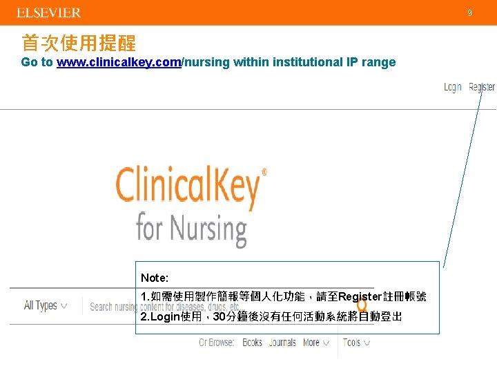 9 首次使用提醒 Go to www. clinicalkey. com/nursing within institutional IP range Note: 1. 如需使用製作簡報等個人化功能,請至Register註冊帳號
