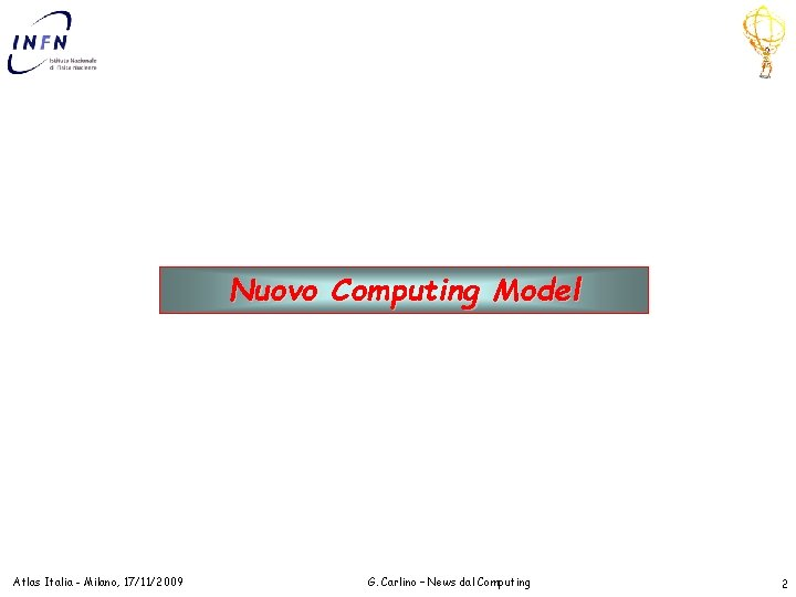 Nuovo Computing Model Atlas Italia - Milano, 17/11/2009 G. Carlino – News dal Computing