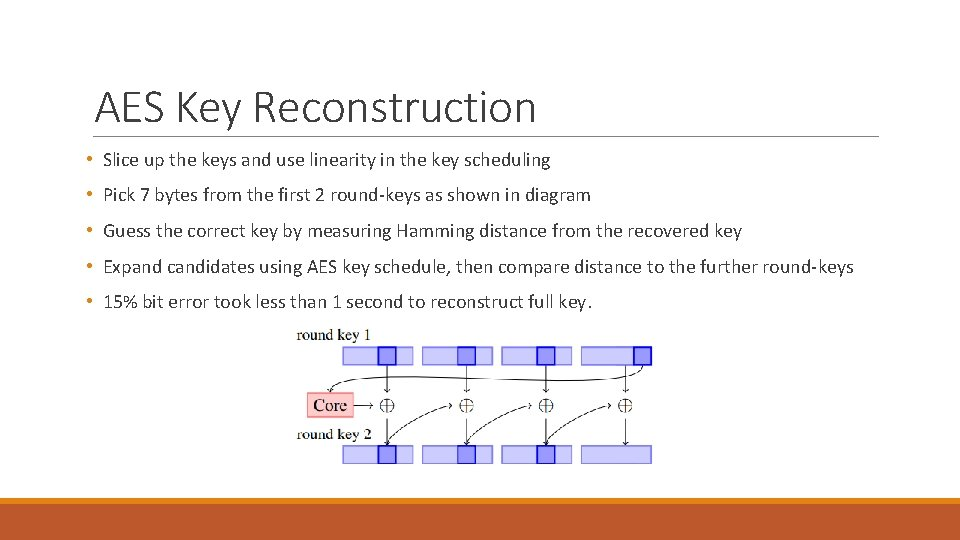 AES Key Reconstruction • Slice up the keys and use linearity in the key
