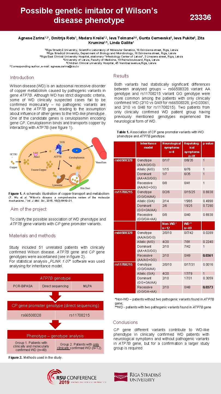 Possible genetic imitator of Wilson's disease phenotype 23336 Agnese Zarina 1, 2*, Dmitrijs Rots