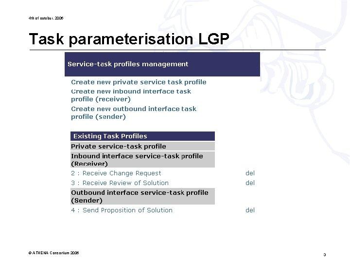 4 th of october, 2006 Task parameterisation LGP © ATHENA Consortium 2006 3