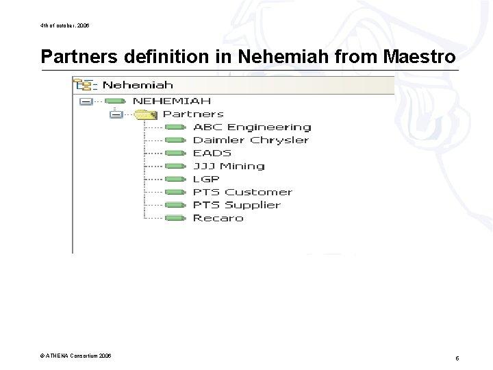 4 th of october, 2006 Partners definition in Nehemiah from Maestro © ATHENA Consortium