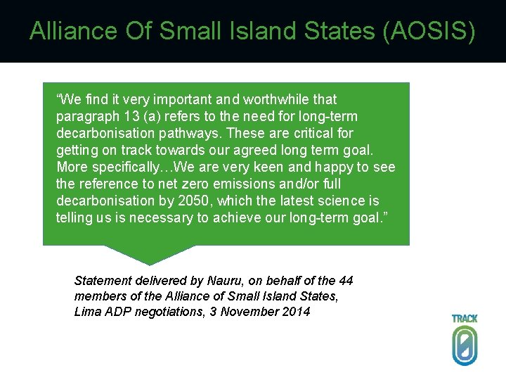 """Alliance Of Small Island States (AOSIS) """"We find it very important and worthwhile that"""