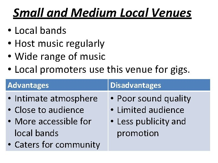 Small and Medium Local Venues • Local bands • Host music regularly • Wide