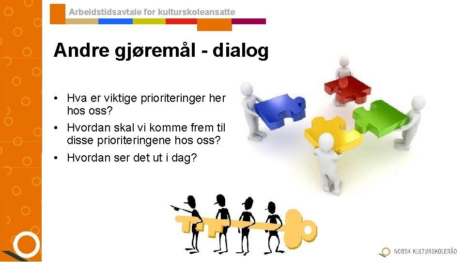 Arbeidstidsavtale for kulturskoleansatte Andre gjøremål - dialog • Hva er viktige prioriteringer hos oss?