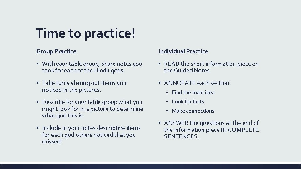 Time to practice! Group Practice Individual Practice ▪ With your table group, share notes