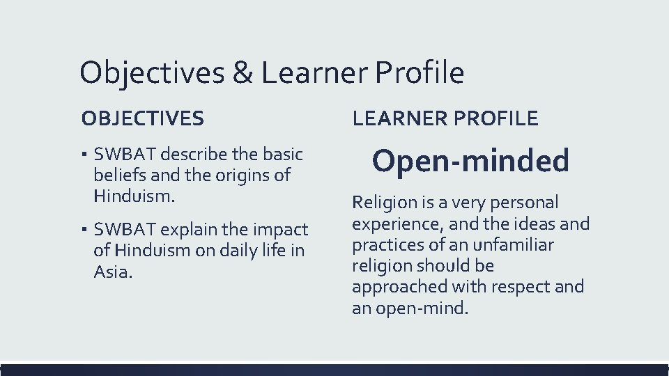 Objectives & Learner Profile OBJECTIVES ▪ SWBAT describe the basic beliefs and the origins