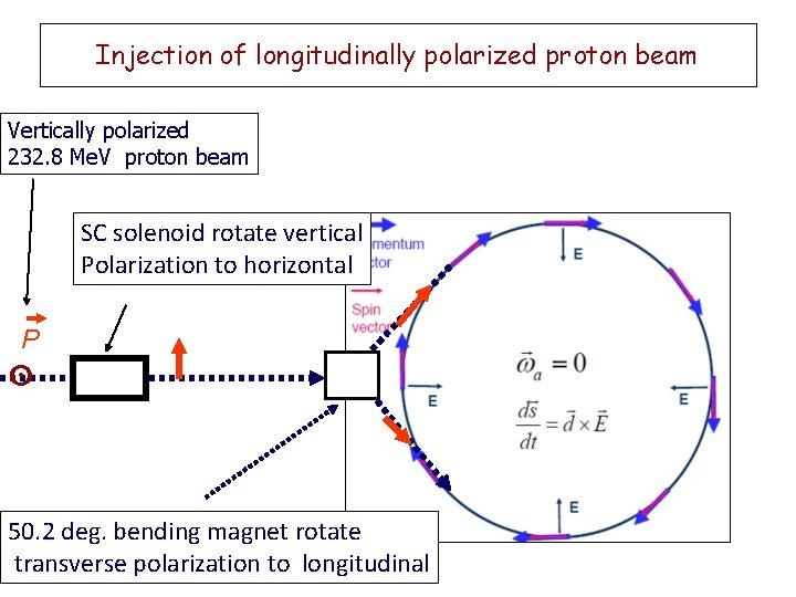 Injection of longitudinally polarized proton beam Vertically polarized 232. 8 Me. V proton beam