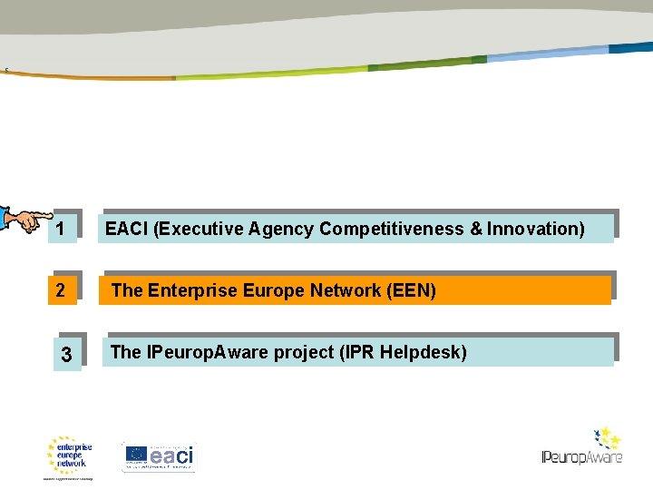 5 1 EACI (Executive Agency Competitiveness & Innovation) 2 The Enterprise Europe Network (EEN)