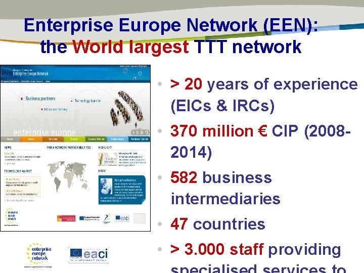 Enterprise Europe Network (EEN): the World largest TTT network • > 20 years of
