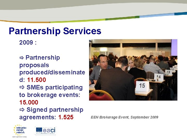 Partnership Services 2009 : Partnership proposals produced/disseminate d: 11. 500 SMEs participating to brokerage
