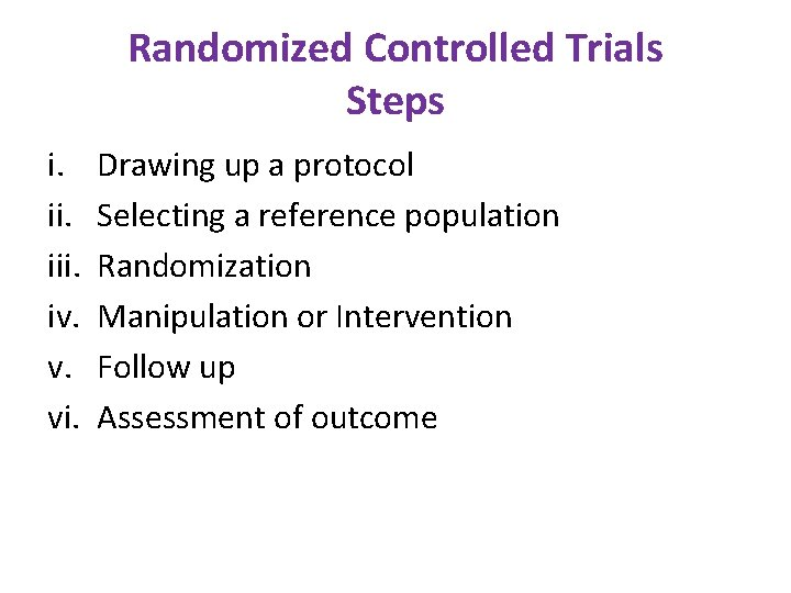 Randomized Controlled Trials Steps i. iii. iv. v. vi. Drawing up a protocol Selecting