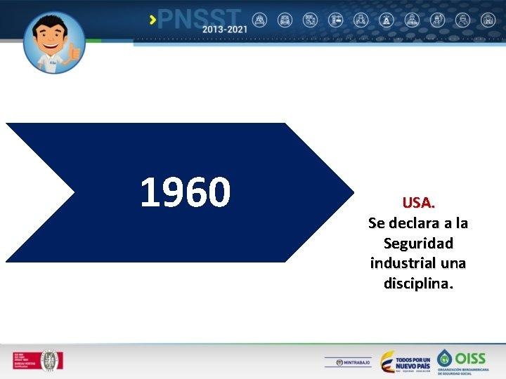 1960 USA. Se declara a la Seguridad industrial una disciplina.