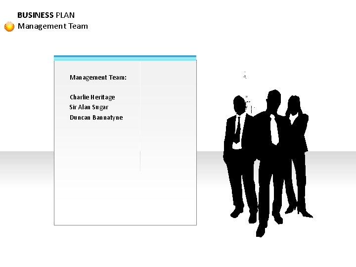 BUSINESS PLAN Management Team: Charlie Heritage Sir Alan Sugar Duncan Bannatyne