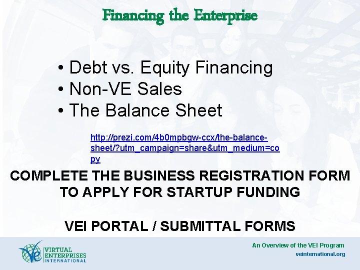 Financing the Enterprise • Debt vs. Equity Financing • Non-VE Sales • The Balance