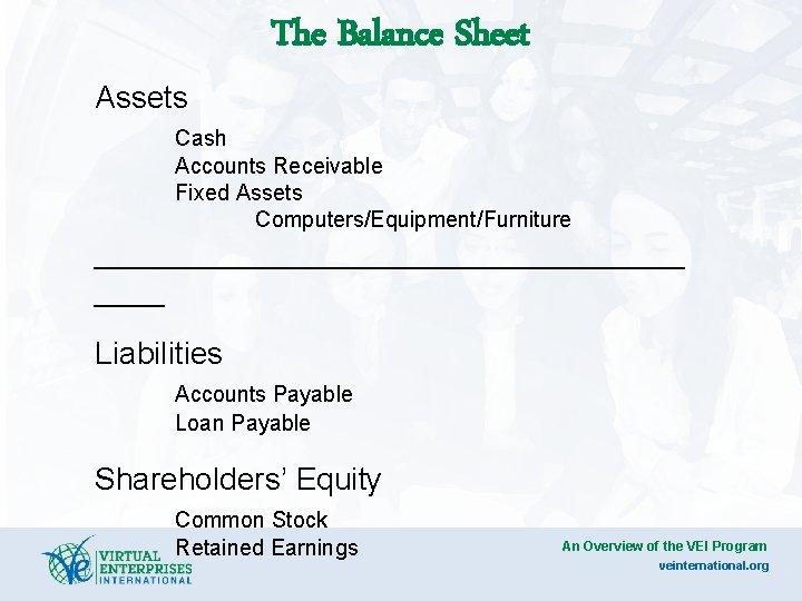The Balance Sheet Assets Cash Accounts Receivable Fixed Assets Computers/Equipment/Furniture _________________ Liabilities Accounts Payable