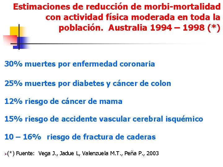 Estimaciones de reducción de morbi-mortalidad con actividad física moderada en toda la población. Australia