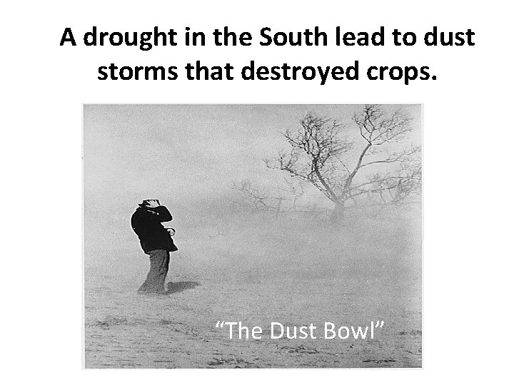 """A drought in the South lead to dust storms that destroyed crops. """"The Dust"""