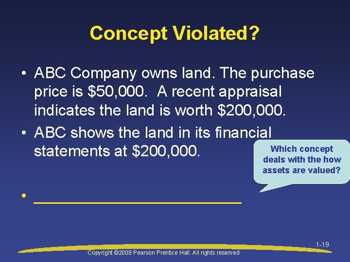 Concept Violated? • ABC Company owns land. The purchase price is $50, 000. A