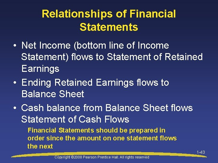 Relationships of Financial Statements • Net Income (bottom line of Income Statement) flows to