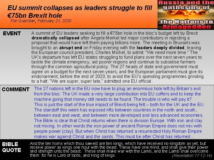EU summit collapses as leaders struggle to fill € 75 bn Brexit hole The