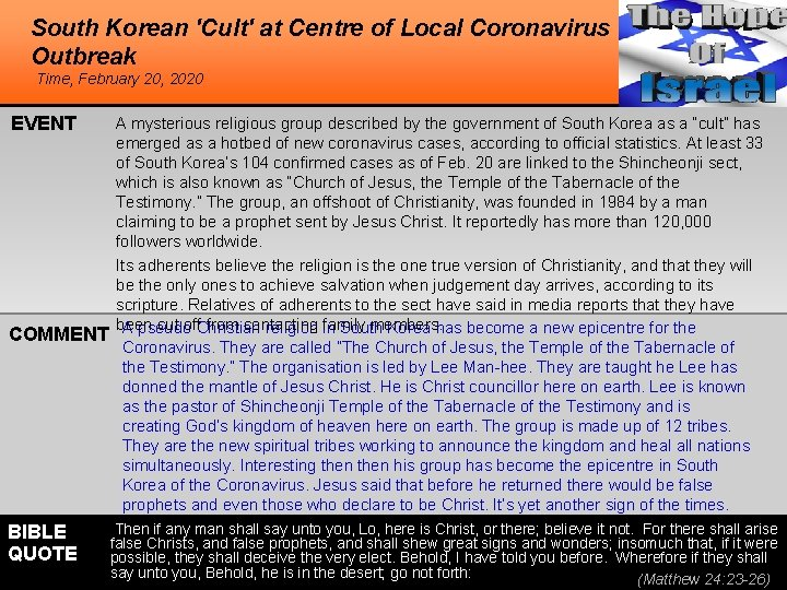 South Korean 'Cult' at Centre of Local Coronavirus Outbreak Time, February 20, 2020 EVENT