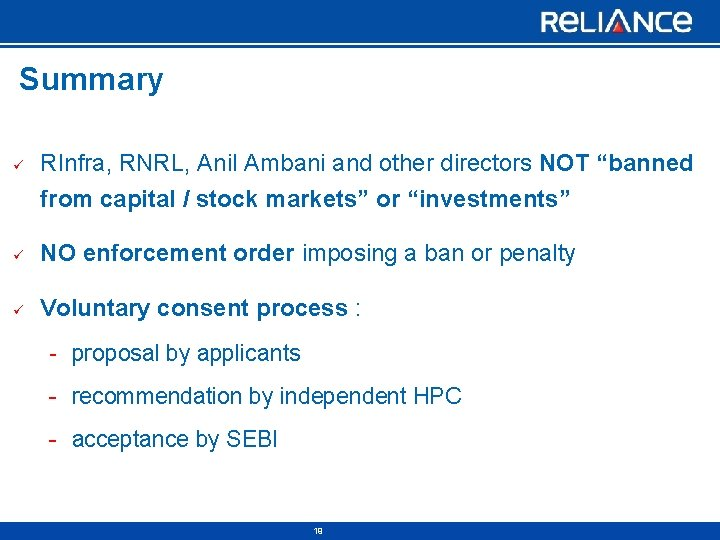 """Summary ü RInfra, RNRL, Anil Ambani and other directors NOT """"banned from capital /"""