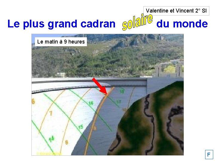 Valentine et Vincent 2° SI Le plus grand cadran solaire du monde Le matin